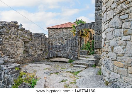Beautiful ancient stone buildings in Istria, Croatia