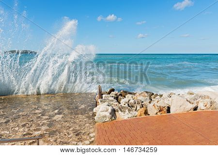 High waves and water splashes in Istria, Croatian coast