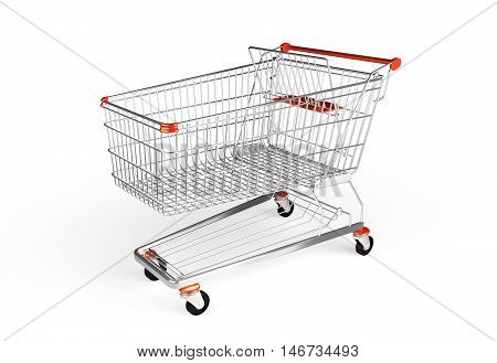 Shopping trollej isolated on the white background. Chrome cart for hypermarket. 3D render image.
