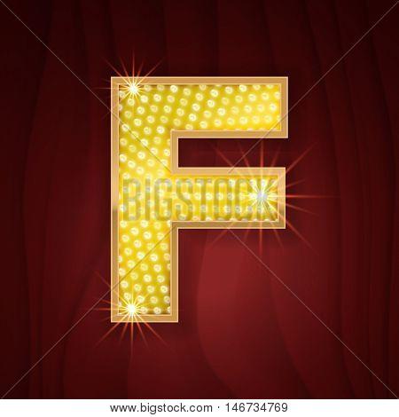 Gold light lamp bulb letter F. Fashion showcase, catwalk podium backdrop emblem. Glowing shining golden alphabet letter F
