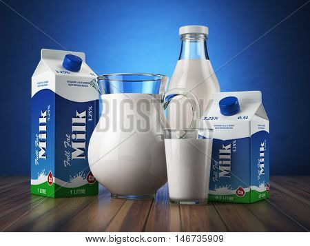 Milk. Glass jug, glass, bottle and carton packs with milk. 3d illustration