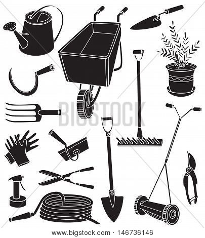 Black and white vector illustration with agriculture objects. Silhouettes of gardening tools hose watering can forks mower pruning shears scissors a potted plant rake gloves hammer hoe isolated on white background