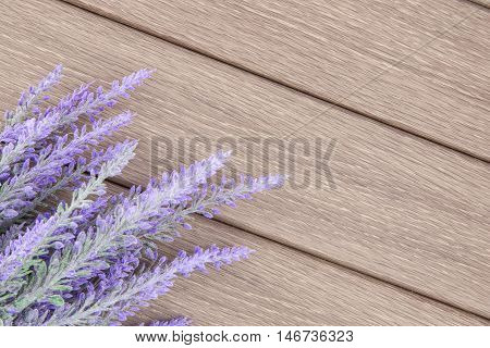 Lavender flowers on wooden background nature photo