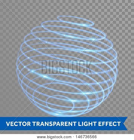 Vector blue neon sphere circles light train effect. Glowing atom structure with magic neon ring trace. Glitter sparkle swirl trail effect on transparent background