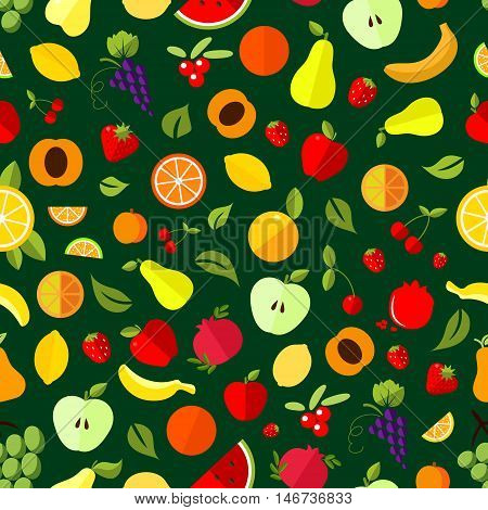 Fresh berry and fruit seamless pattern. Apple, orange, banana, strawberry, cherry, grape, lemon, peach pear watermelon pomegranate and cranberry fruits background