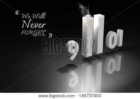 Abstract 3D Rendering Illustration : World Trade Center Twin Tower Buildings For September 11 2001,