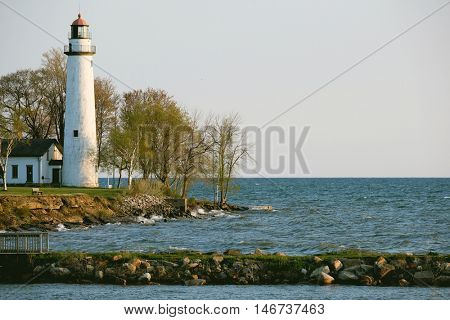 Pointe aux Barques Lighthouse, built in 1848, Lake Huron, Michigan, USA