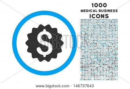 Financial Reward Seal rounded vector bicolor icon with 1000 medical business icons. Set style is flat pictograms, blue and gray colors, white background.