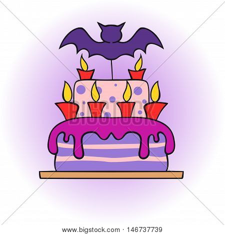 icon halloween cake with bat and candles