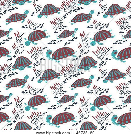 Seamless vector pattern with earthen turtle in the reeds. Marshland rural background with reptiles ponds and canes