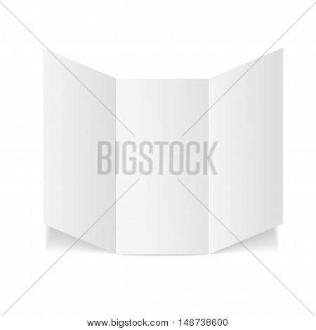 Blank Folded Leaflet White Paper Template with Three Fold. Vector illustration