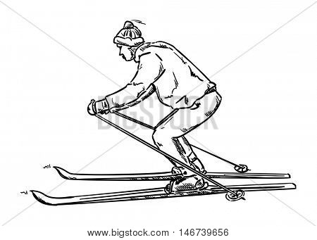 vector - isolated on background - old ski