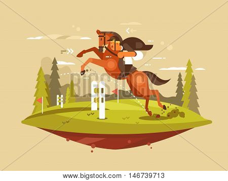 Horseback riding design flat. Horse and rider jumping hurdles. Vector illustration poster