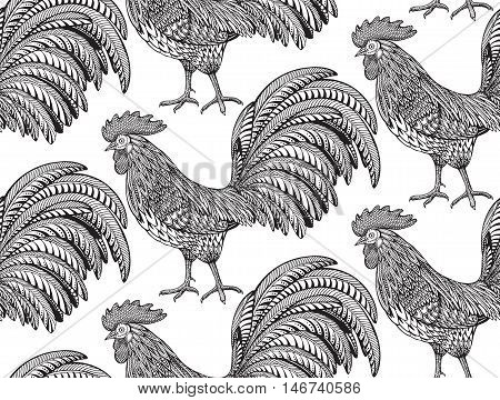 Black and white seamless pattern with hand drawn fiery roosters in doodle ornate style. Beautiful vector endless background. Symbol of the new year