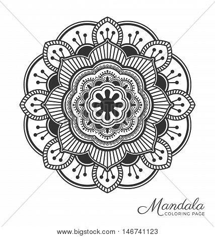 Tibetan mandala decorative ornament design for adult coloring page greeting card invitation tattoo yoga and spa symbol. Vector illustration