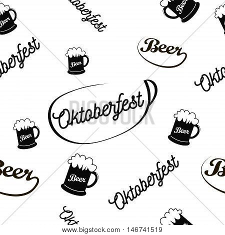 Oktoberfest seamless pattern, simple image of a glass of foamy beer, calligraphic words Oktoberfest and Beer located at a different angle and scale, vector illustration for print or website design