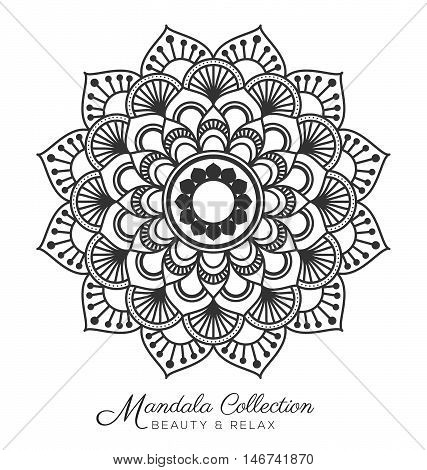 Tibetan mandala decorative ornament design for coloring page greeting card invitation tattoo yoga and spa symbol. Vector illustration