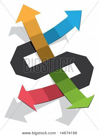 Dollar Sign made out of colorful Arrows