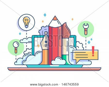 Design concept pencil and brush. Items for drawing tablet and creative idea. Vector illustration