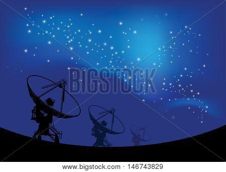 Radio telescope on the Space stars background