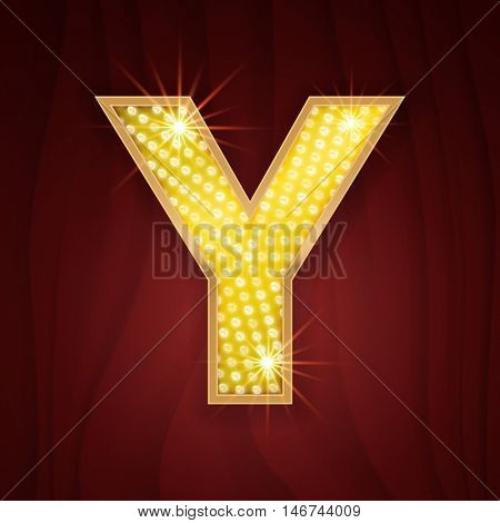 Gold light lamp bulb letter Y. Fashion style glowing shining golden alphabet letter set for light board