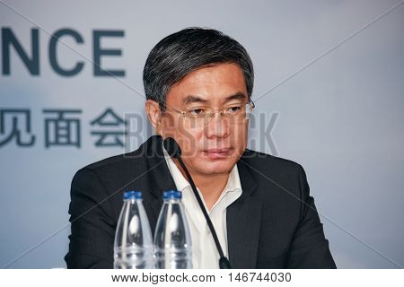 SHANGHAI CHINA - AUGUST 31 2016: Huawei Enterprise BG president Yan Lida at press-conference at Connect 2016 information technology conference and exhibition in Shanghai China on August 31 2016.