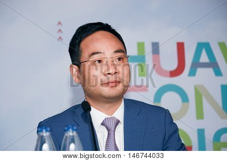 SHANGHAI CHINA - SEPTEMBER 1 2016: Huawei IT Product Line president Zheng Yelai at press-conference at Connect 2016 information technology conference in Shanghai China on September 1 2016.