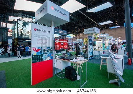 SHANGHAI CHINA - SEPTEMBER 2 2016: Booth of Broadcom company at Connect 2016 information technology conference and exhibition in Shanghai China on September 2 2016.