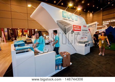 SHANGHAI CHINA - SEPTEMBER 2 2016: HGST of Western Digital company booth at Connect 2016 information technology conference and exhibition in Shanghai China on September 2 2016.