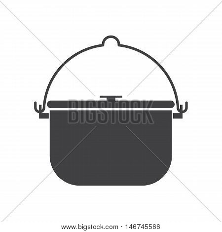 Camping pot outline icon. Barbecue steel bowl vector silhouette illustration. Hiking bowler pot isolated on white background. Camp bowl pictogram in flat design.