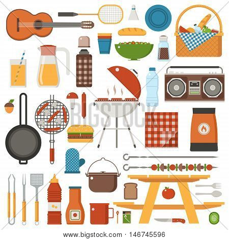 Barbecue and picnic set. Family weekend collection with barbeque grill, picnic games and grilling tools. Vegetarian barbecue set with soya sausages, mushrooms and vegetables. Outing and picnic icons.