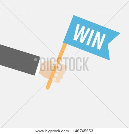Businessman hand holding flag with word Win. Car racing competition atribute. Motocross sport finishing. Flat design style. White background. Isolated. Vector illustration