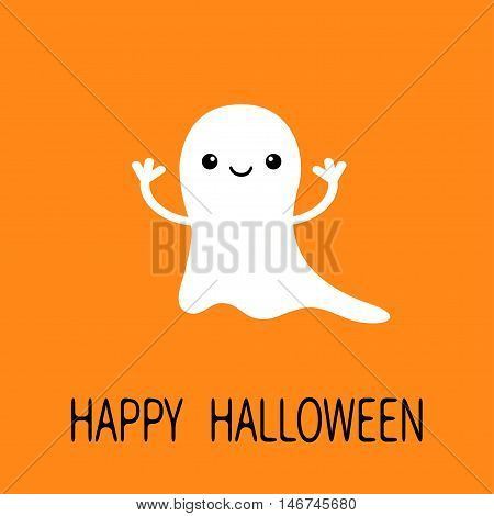 Funny flying baby ghost. Smiling face. Happy Halloween. Greeting card. Cute cartoon character. Scary spirit. Kids collection. Orange background. Flat design. Vector illustration