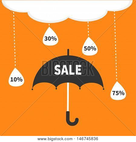 Monsoon season offer. Black umbrella. Cloud with hanging dash line raining drops. 10 30 50 75 persent off. Big sale banner poster. Flat design. Orange background. Vector illustration