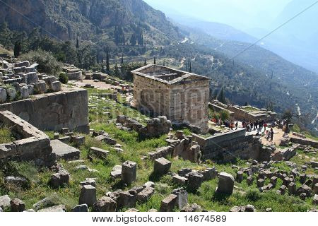 Delphi Tholos greece at late afternoon