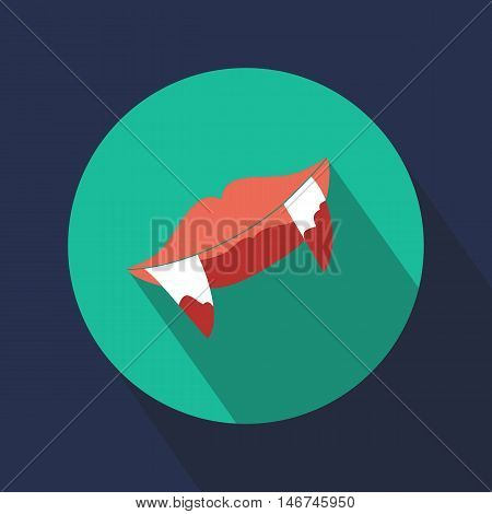 vampire fangs. Lips. Icon. Round. Halloween. Web. For your design.