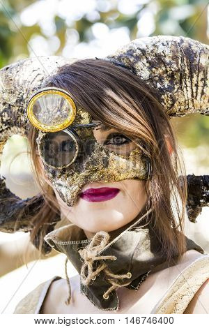 CAGLIARI, ITALY - May 29, 2016: Sunday at La Grande Jatte VIII Ed. At the Public Gardens - Sardinia - portrait of a beautiful woman in steampunk costumes