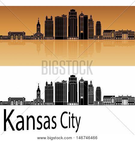 Kansas City V2 skyline in orange background in editable vector file