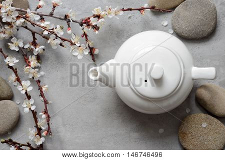 Teapot decorated with spring bloming tree branch tea concept top view can be used both horizontal and vertical