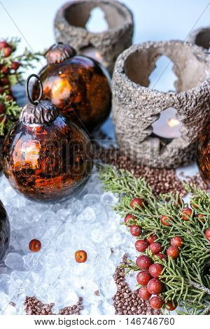 Christmas tree handmade heavy glass balls and candlelight on chrystal ice decoration