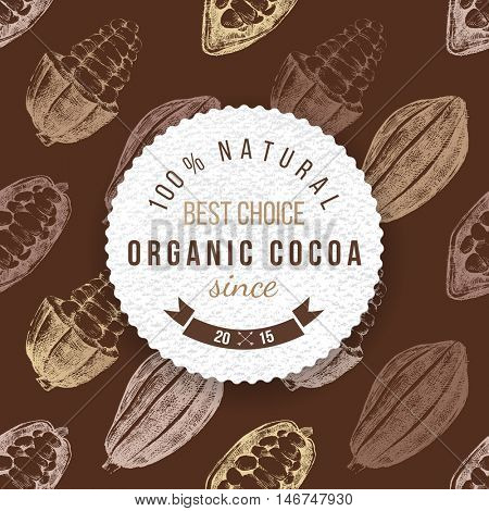 Organic cocoa round label with type design on seamless cocoa background