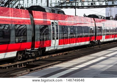 Berlin Germany - September 9 2016: Regional Express train at central station in Berlin Germany
