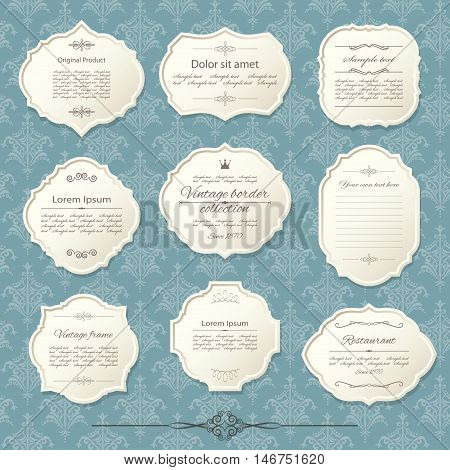 Vintage frame set on damask background. Calligraphic design elements.
