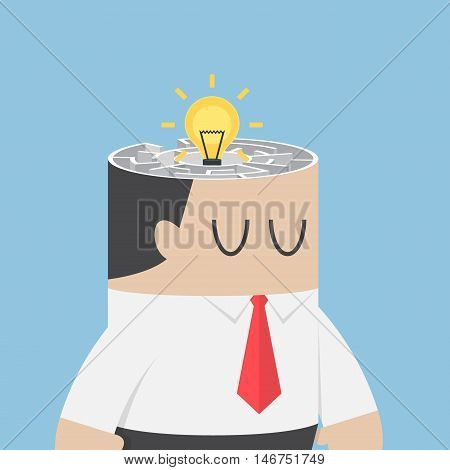 Businessman Head With Idea Hiding Inside The Maze