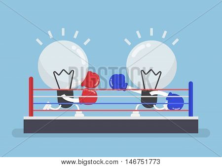 Two Light Bulb Wearing Boxing Gloves Fighting In Boxing Ring