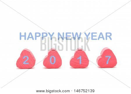 Pink Heart On White Background With Happy New Year 2017 Blue Color
