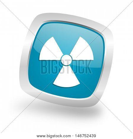 radiation square glossy chrome silver metallic web icon
