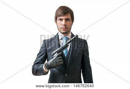 Secret Agent Or Murderer With Pistol In Hand. Isolated On White