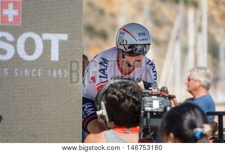 JAVEA - SEPTEMBER 9: Mathias Frank concentrates for the decisive time trial stage of La Vuelta on September 9, 2016 in Alicante, Spain