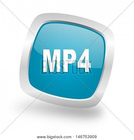 mp4 square glossy chrome silver metallic web icon
